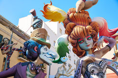 Fallas fest figures in Valencia traditional Spain Royalty Free Stock Image