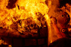 Fallas fire burning in Valencia fest at March 19 th. Spain tradition Stock Image