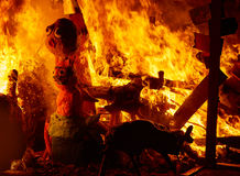 Fallas fire burning in Valencia fest at March 19 th Stock Photo