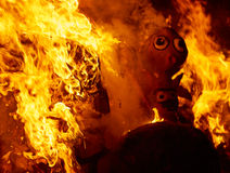 Fallas fire burning in Valencia fest at March 19 th Stock Image