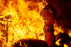 Fallas fire burning in Valencia fest at March 19 th Stock Photography