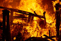 Fallas fire burning in Valencia fest at March 19 th Royalty Free Stock Photography