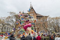 Fallas.March 2016 in Valencia, Spain. VALENCIA, SPAIN - MARCH 13: Satirical ninots puppets on Fallas in Valencia. Papemache and polystyrene models are displayed Stock Image