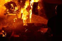 Fallas popular fest burning cartoon figures Royalty Free Stock Photo