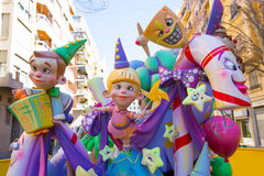 Fallas is a popular fest in Valencia Spain figures will be burne. Fallas is a popular fest in Valencia Spain with figures that will be burned in March 19 night Royalty Free Stock Images