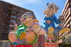 Fallas is a popular fest in Valencia Spain figures will be burne. Fallas is a popular fest in Valencia Spain with figures that will be burned in March 19 night Royalty Free Stock Photos