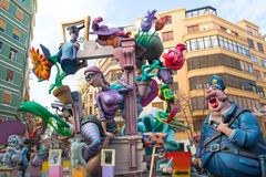 Fallas is a popular fest in Valencia Spain figures will be burne. Fallas is a popular fest in Valencia Spain with figures that will be burned in March 19 night Royalty Free Stock Photo