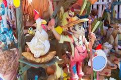 Fallas of Valencia in Denia popular fest figures Royalty Free Stock Photos