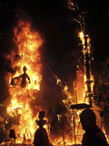 Fallas of Valencia on fire Royalty Free Stock Images