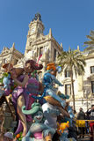 Fallas of Valencia. Papermache and polystyrene models are displayed during traditional celebration in praise of St Joseph. March 2013 in Valencia, Spain Royalty Free Stock Image
