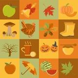 Fallblätter und -pilze im Gras Halloween und Danksagungs-Tag Flaches Design Stockbild