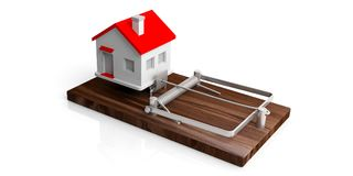 Falle des Realkredites Haus auf einer Mäusefalle lokalisiert auf weißem Hintergrund Abbildung 3D Lizenzfreie Stockfotos