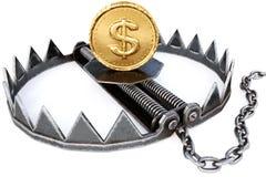Falle mit Münzen auf weißem Hintergrund Geschäfts- und Risikokonzept stock abbildung