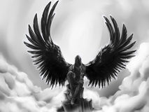 Fallen angel. Black fallen angel against the cloudy sky. His wings are black and look like those of a raven. Seated on the mountain top he is lost in thoughts stock illustration