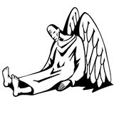 Fallen angel. Black and white illustration of angel that fell vector illustration