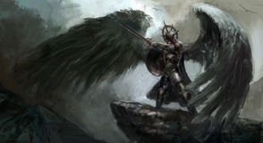 Fallen angel. Dead knight or fallen angel Stock Image