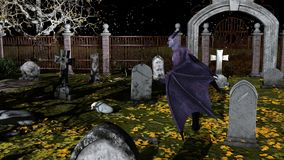 Fallen Angel of Death in a spooky cemetery. At night - 3d rendering vector illustration