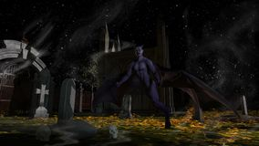 Fallen Angel of Death in a spooky cemetery. At night - 3d rendering stock illustration