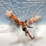 Fallen angel. Surrealism. Naked man with burning wings falls down from cloudy sky. Maze of clouds. 3D render Royalty Free Stock Photography