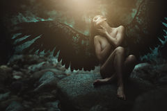 Free Fallen Angel With Black Wings Stock Images - 76799704