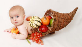 Fallen behandla som ett barn ymnighetshornet Fotografering för Bildbyråer