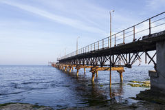 Fallen Bridge to Nowhere. This is the most eastern point of Bulgaria stock photography