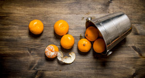 Fallen bucket with fresh tangerines. On wooden table. Stock Images