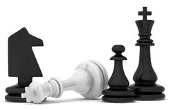 The fallen chess piece lying on a white background Stock Images