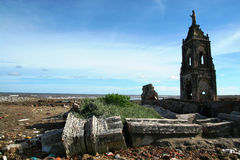Fallen church on the beach Royalty Free Stock Photography