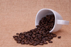 Fallen Coffee cup filled with beans Royalty Free Stock Photography