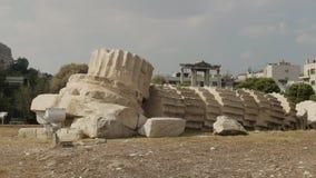 Fallen column at temple of zeus ruins in athens, greece