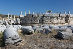 Fallen columns on the agora in Perge Stock Photos