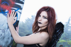 Fallen Dark Angel Royalty Free Stock Photography