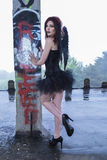 Fallen Dark Angel Stock Photo