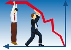 Fallen der Finanzierung Stockfoto