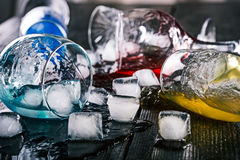 Fallen drinking glasses Royalty Free Stock Images