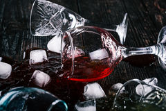 Fallen drinking glasses Stock Photography