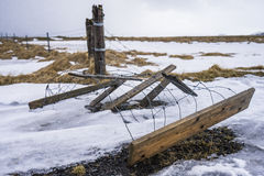 Fallen fence in Iceland Royalty Free Stock Photo