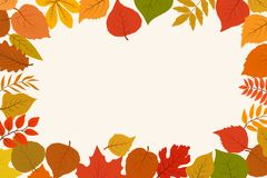 Fallen gold and red autumn forest leaves. October nature leaf border vector abstract background stock illustration