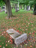 Fallen grave stone in graveyard. Royalty Free Stock Image