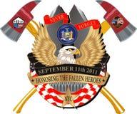Fallen Heroes 911 Memorial Decal. New York 911 Crossed Pentagon 343 Memorial Decal Stock Photo