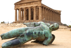Fallen Icarus in front of Temple of Concordia, Agrigento, Sicily, Italy Stock Images