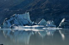 Fallen iceberg on Tasman glacier lake, New Zealand Royalty Free Stock Photography