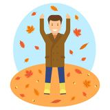 Autumn theme illustrtion. Fallen leaves in autumn season  image. Man is throwing up the autumn leaves Royalty Free Stock Image