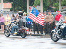 Fallen Marine Returns Home. PENSACOLA - AUGUST 24:  Patriot Guard Riders escort the fallen body of 19 year old US Marine Lance Cpl Travis Nelson as he is Stock Photography