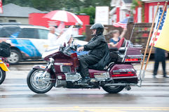 Fallen Marine Returns Home. PENSACOLA - AUGUST 24:  Patriot Guard Riders escort the fallen body of 19 year old US Marine Lance Cpl Travis Nelson as he is Royalty Free Stock Image