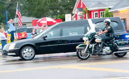 Fallen Marine Returns Home. PENSACOLA - AUGUST 24:  Patriot Guard Riders escort the fallen body of 19 year old US Marine Lance Cpl Travis Nelson as he is Royalty Free Stock Photo