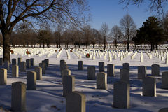 Fallen Military Heros at Cold Winter National Cemetery Royalty Free Stock Photography
