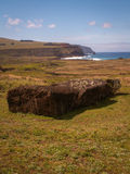 Fallen Moai Pointing To Coast Royalty Free Stock Images