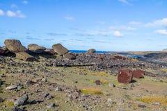 Fallen Moai Statues at Ahu Akahanga - Easter Island, Chile stock photos